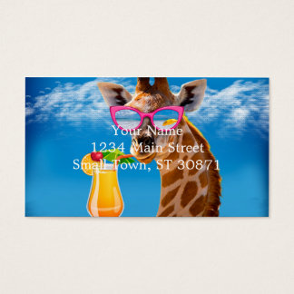 Giraffe beach - funny giraffe business card