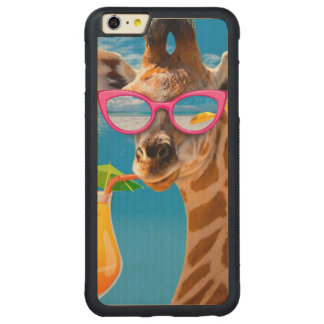 Giraffe beach - funny giraffe carved maple iPhone 6 plus bumper case