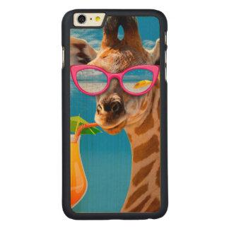 Giraffe beach - funny giraffe carved maple iPhone 6 plus case