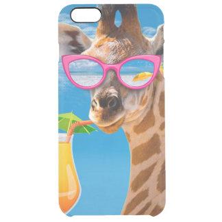 Giraffe beach - funny giraffe clear iPhone 6 plus case