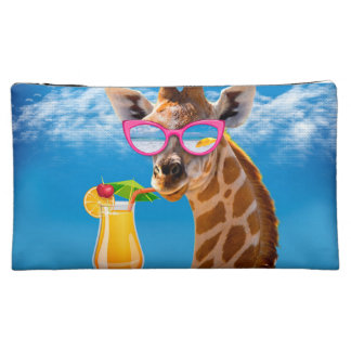 Giraffe beach - funny giraffe cosmetic bag