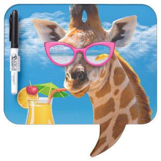 Giraffe beach - funny giraffe dry erase board