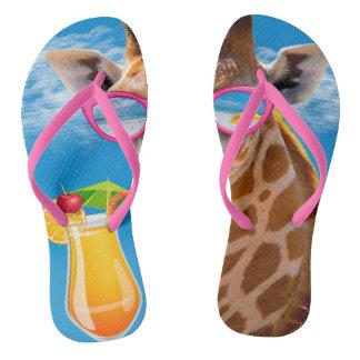 Giraffe beach - funny giraffe flip flops