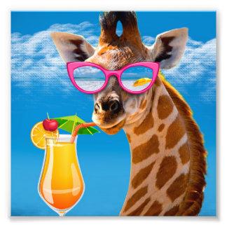 Giraffe beach - funny giraffe photo print