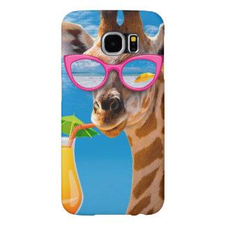 Giraffe beach - funny giraffe samsung galaxy s6 cases