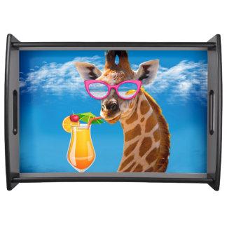 Giraffe beach - funny giraffe serving tray