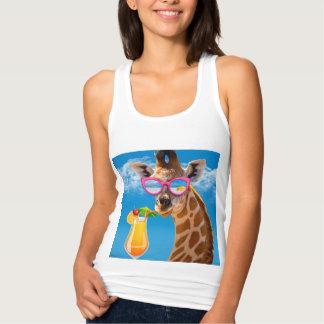 Giraffe beach - funny giraffe tank top