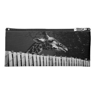 Giraffe behind Fence Black & White Photograph Pencil Case