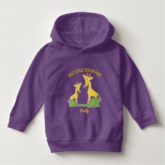 Giraffe Best Little Sister Ever Girls Personalized Hoodie