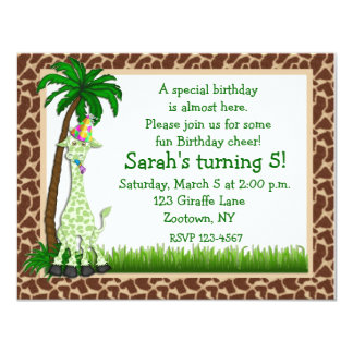 "Giraffe Birthday Invitation 4.25"" X 5.5"" Invitation Card"
