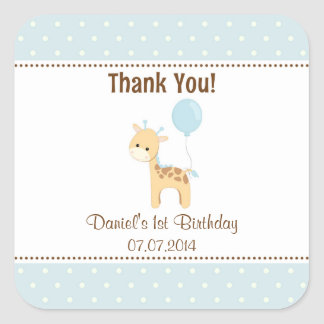 Giraffe Birthday Thank You Stickers (Blue)