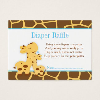 Giraffe Blue Boy Diaper Raffle Invitation