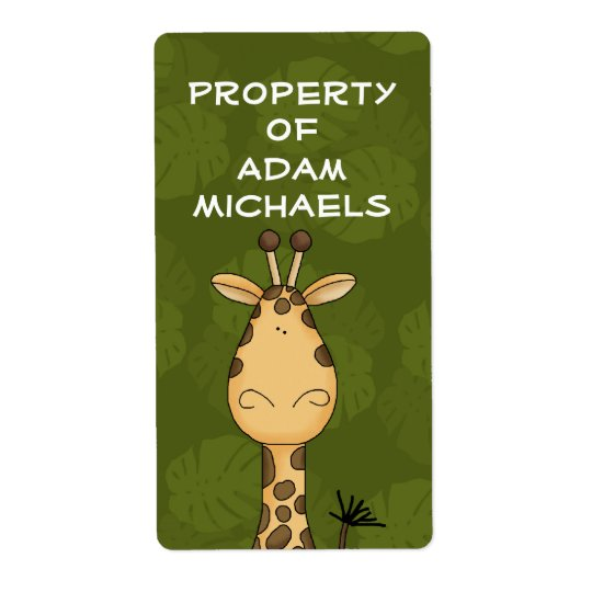 Giraffe Bookplate Label Shipping Label