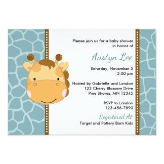 Giraffe Boy Baby Shower Invitations