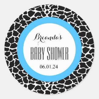 GIRAFFE Boy Baby Shower Name Date V07 BLUE Classic Round Sticker