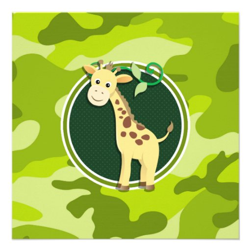 Giraffe; bright green camo, camouflage personalized announcement