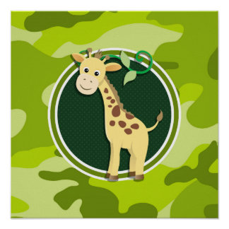 Giraffe bright green camo camouflage print