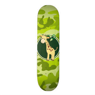 Giraffe bright green camo camouflage custom skate board