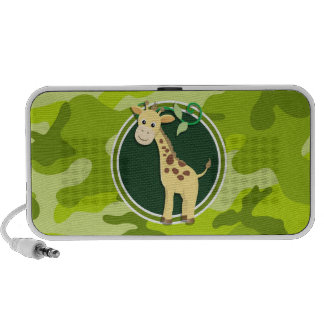 Giraffe; bright green camo, camouflage iPod speakers