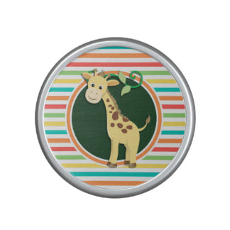 Giraffe; Bright Rainbow Stripes Bluetooth Speaker