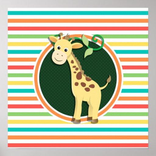 Giraffe; Bright Rainbow Stripes Posters