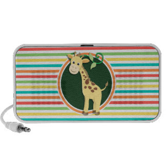 Giraffe; Bright Rainbow Stripes iPod Speakers