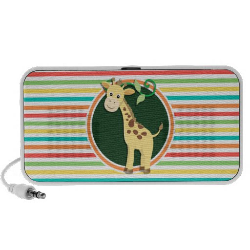 Giraffe; Bright Rainbow Stripes iPod Speakers