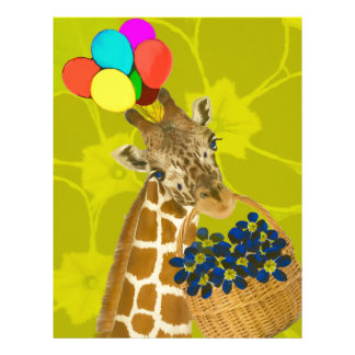 Giraffe brings congratulations. letterhead