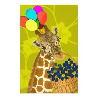 Giraffe brings congratulations. stationery