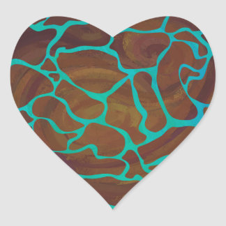 Giraffe Brown and Teal Print Heart Sticker