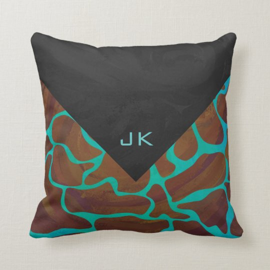 Giraffe Brown and Teal Print Throw Pillow