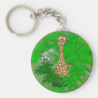 Giraffe-brown Basic Round Button Keychain