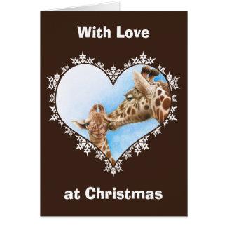 Giraffe & Calf Snowflake Heart Christmas Card