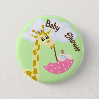 Giraffe Carrying Umbrella Baby Shower Invitation 2 Inch Round Button