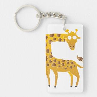 giraffe cartoon. Double-Sided rectangular acrylic keychain