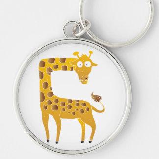 giraffe cartoon. Silver-Colored round keychain