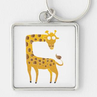 giraffe cartoon. Silver-Colored square keychain