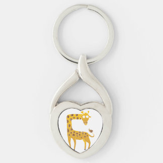giraffe cartoon. Silver-Colored twisted heart keychain