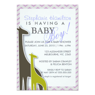 Giraffe chevron baby boyl shower invites