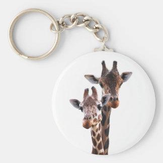 Giraffe Couple Button Keychain