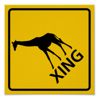 Giraffe Crossing Highway Sign