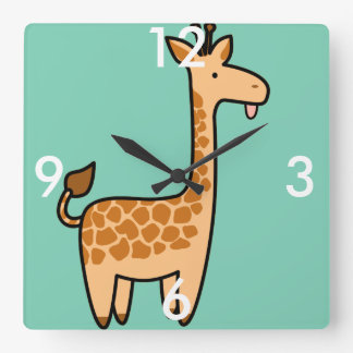 Giraffe Custom Square Clock
