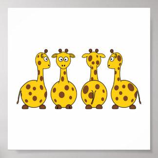 Giraffe Cute Cartoon Poster