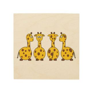 Giraffe Cute Cartoon Wood Print