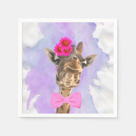 Giraffe cute funny jungle animal watercolor paper napkin