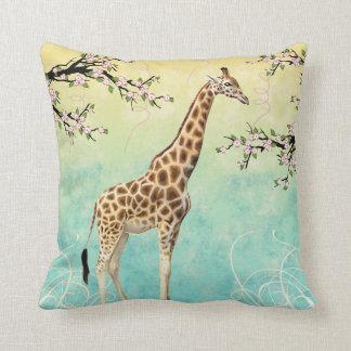 Giraffe Dogwood Throw Pillow