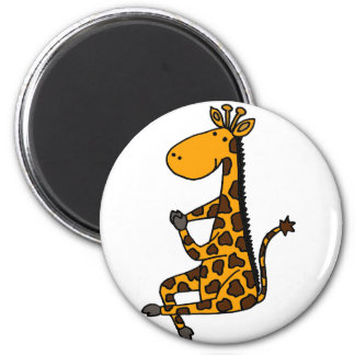 Giraffe doing YogarCartoon Magnet