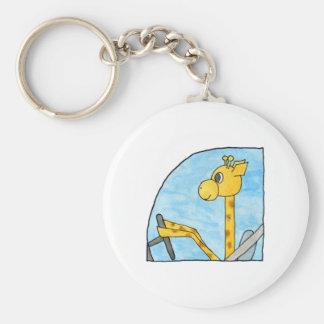 Giraffe Driving a Car. Basic Round Button Keychain
