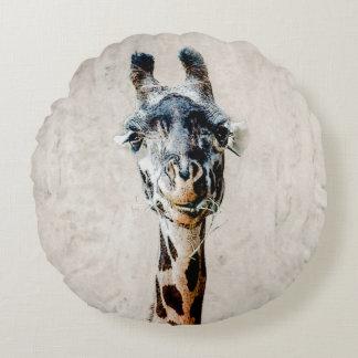 Giraffe eating Grass Pillow