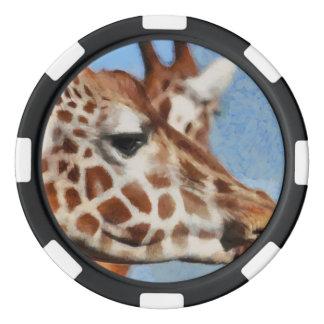 Giraffe eating its food poker chips